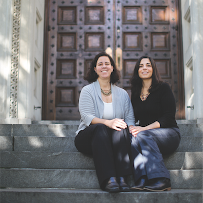 Spagnuolo and Ballen rest on the steps of University of Pennsylvania Law School. Photo courtesy of Carly Teitelbaum.