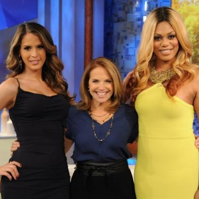 Katie Couric responds to criticism over invasive question she asked transgender guest Carmen Carrera (far left).