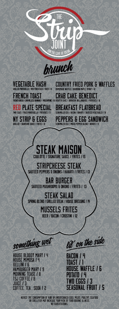 strip joint brunch menu