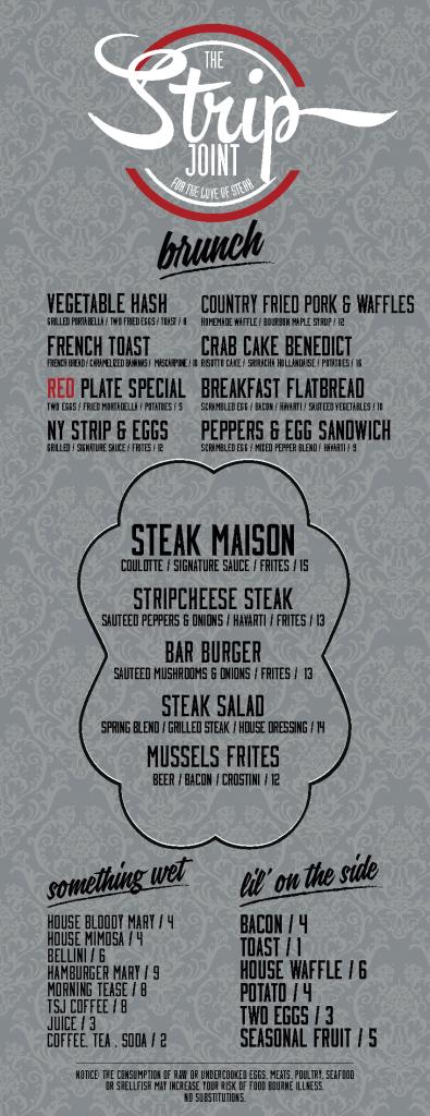 strip joint brunch menu
