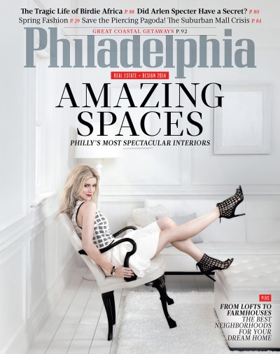 The March 2014 issue of Philadelphia magazine featuring Philadelphia's Most Spectacular Interiors, The Tragic Life of Birdie Africa, and Arlen Specter and the Warren Commission Conspiracy.