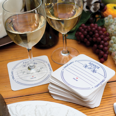 """Advice for the Mr. & Mrs."" Coasters from Hortense B. Hewitt."