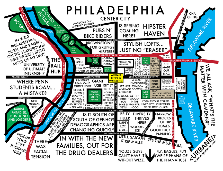 A Hilarious And Ridiculously Accurate Map Of Philadelphia - Map od