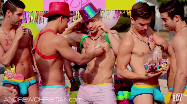 """Billy Cavallo (far right) in Andrew Christian's latest video, """"Candy Pop."""""""