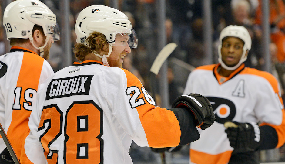 Feb 1, 2014; Los Angeles, CA, USA;  Philadelphia Flyers center Claude Giroux (28) celebrates a goal against the Los Angeles Kings in the third period of game at Staples Center. Philadelphia Flyers won 2-0. Photo | Jayne Kamin-Oncea-USA TODAY Sports