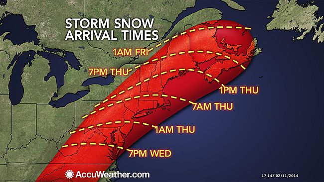 Storm Snow arrival times via  accuweather.com