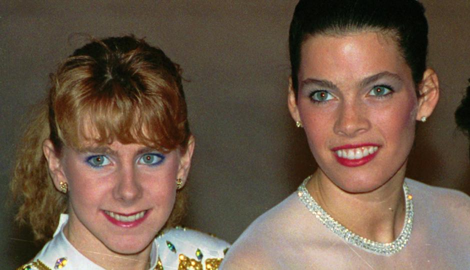 Tonya Harding, left, and Nancy Kerrigan at the 1992 U.S. Figure Skating Championships in Orlando, Fla., on Jan. 12, 1992.