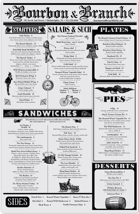 bourbon and branch menu