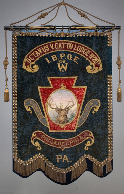 Banner from the O.V. Catto Elks Lodge No. 20.   Photo courtesy Philadelphia History Museum at the Atwater Kent.