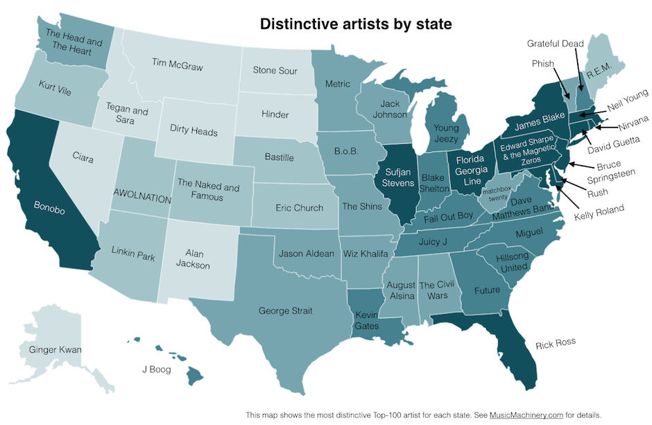 every states favorite band
