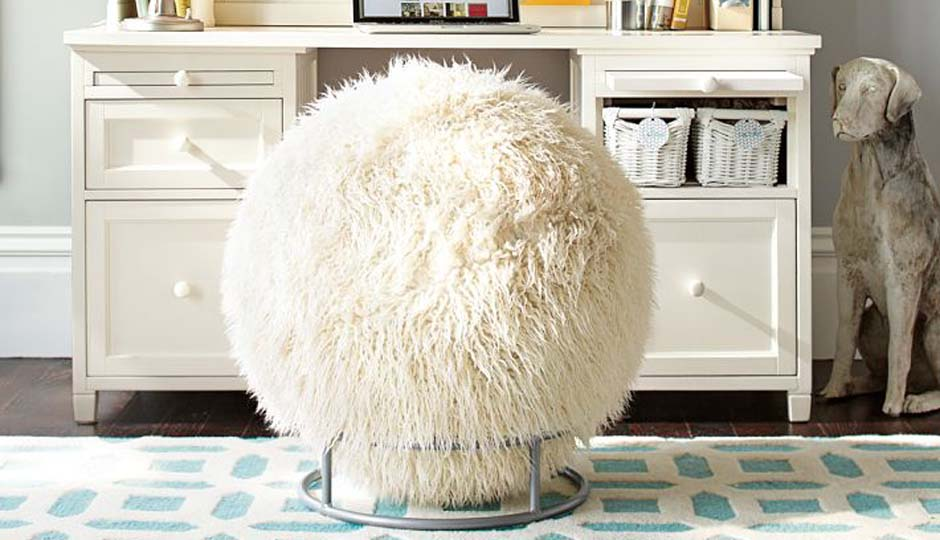 Faux Fur Covered Exercise Ball Desk Chair Is a Real Thing