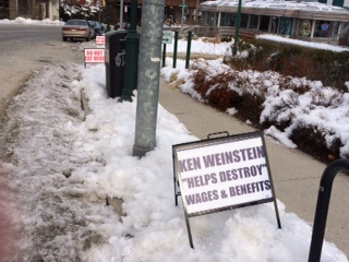 IBEW protest sign