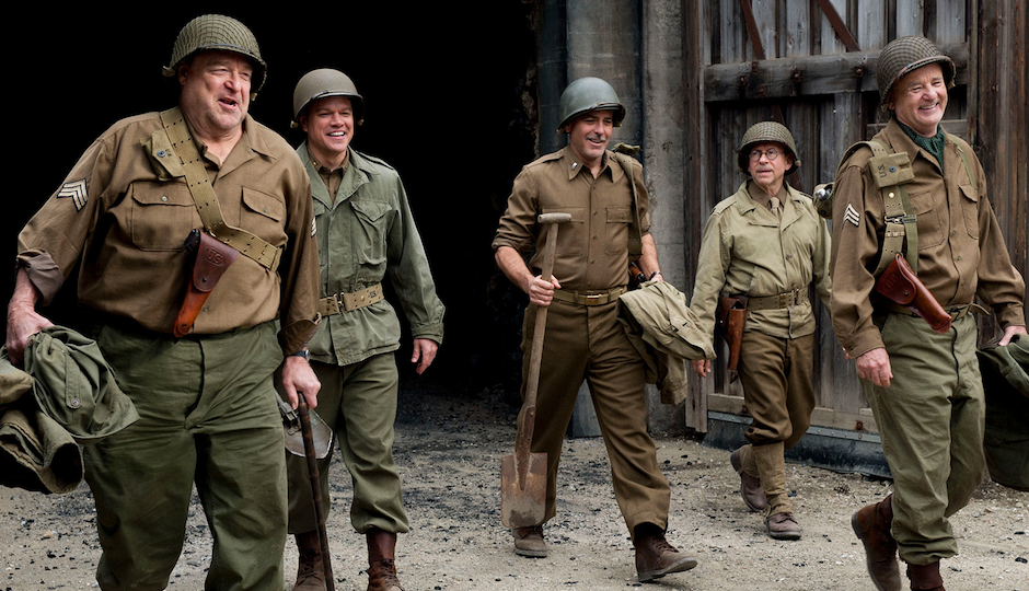 "John Goodman (far left) portrays Philly architect Walter Hancock in George Clooney's ""Monuments Men."""