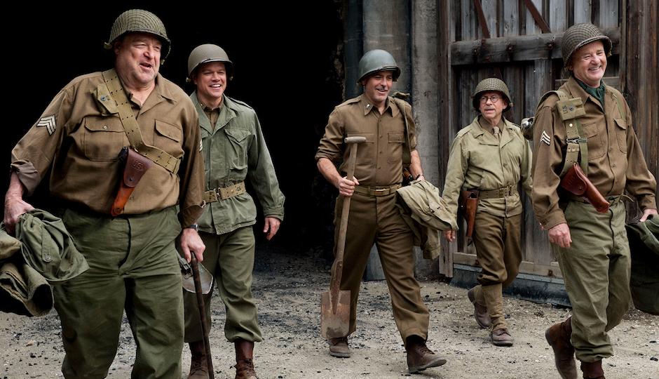 "John Goodman (far left) portrays Philly architect Walter Hancock in George Clooney's ""Monuments Men."""