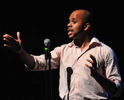 Thomas performing at our LGBT Six-Word Memoir Slam in October. Photo by Ian Watson.