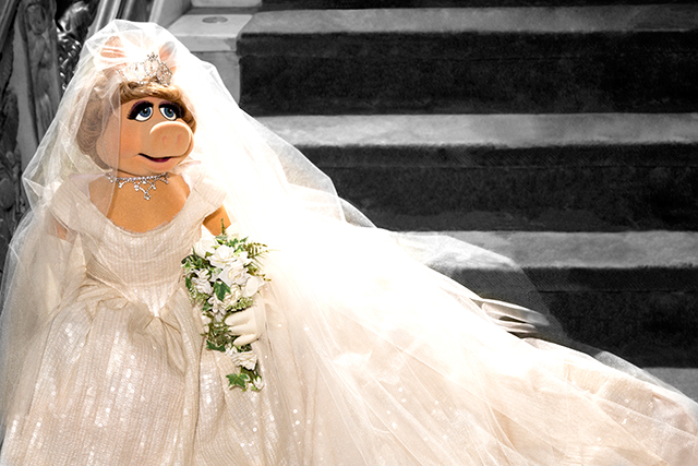 The lovely Miss Piggy, in her Vivienne Westwood wedding gown. Photo: Mary Ellen Mathews/Disney.