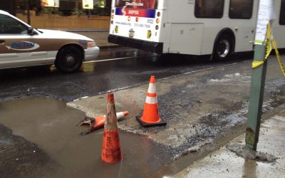 Utility trench or Pothole at 18th and walnut rittenhouse