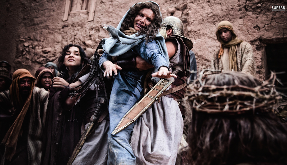 "Roma Downey as Mary in ""Son of God."""