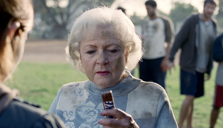 Betty White in her career-reviving Super Bowl commercial for Snickers in 2010.