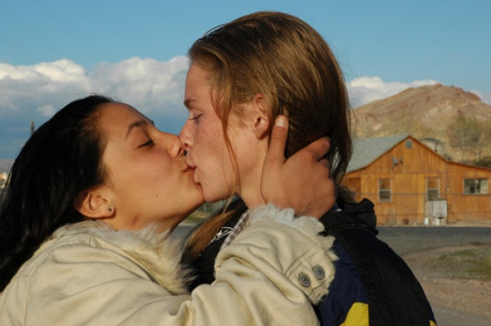 """Women Kissing"" is one of the LGBT-centric images available in Zoe Strauss's silent auction for First Person Arts."