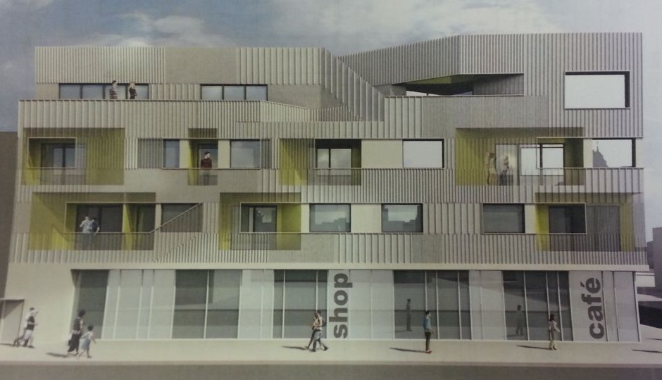 Rendering of the proposed 13th and South condo buildings, South Street view. Photo credit: Passyunk Post.