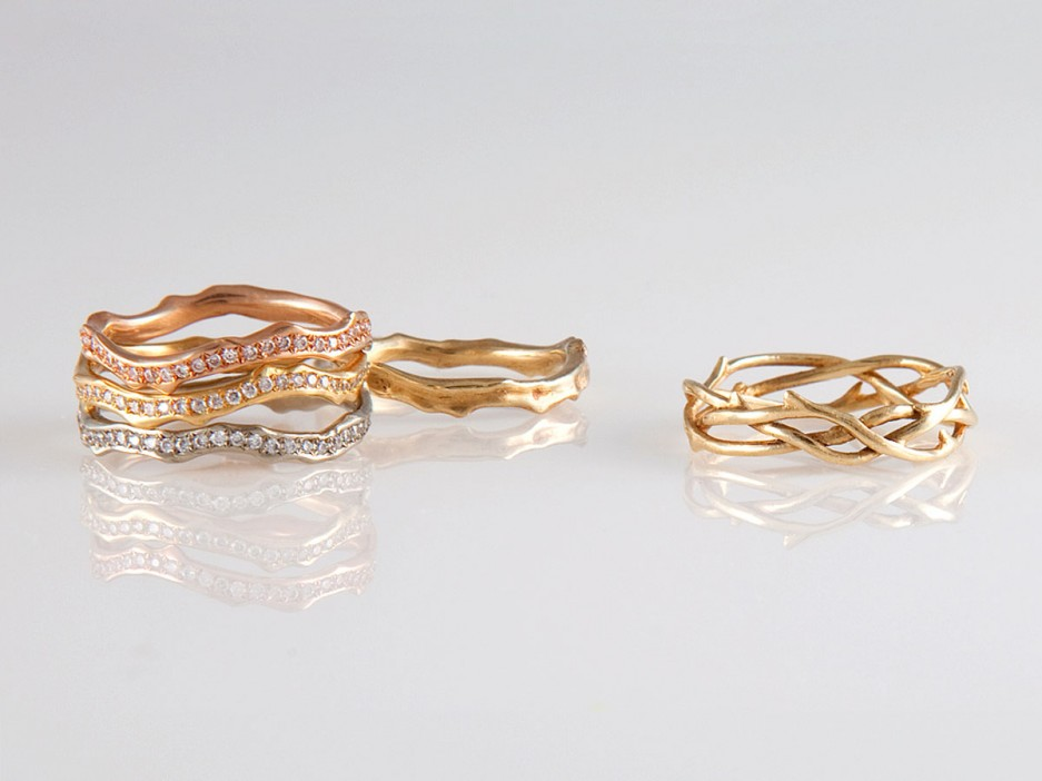 annette ferdinandsen 18 karat diamond pave coral stick bands in pink yellow and white gold 3400 each 10 karat coral stick ring 340 and 14 karat - Nontraditional Wedding Rings