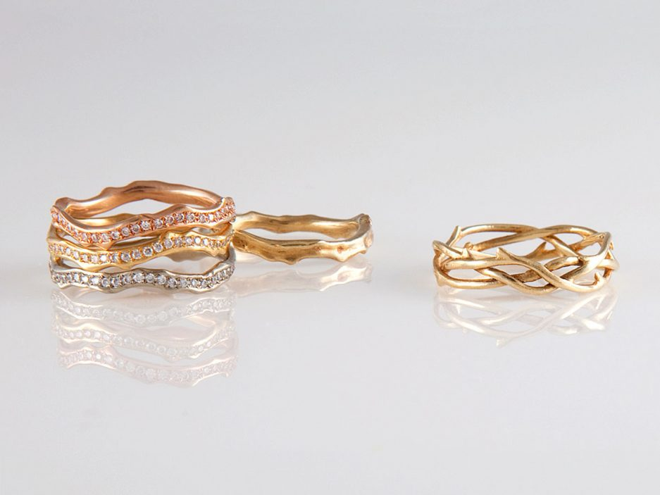 annette ferdinandsen 18 karat diamond pave coral stick bands in pink yellow and white gold 3400 each 10 karat coral stick ring 340 and 14 karat - Traditional Wedding Rings