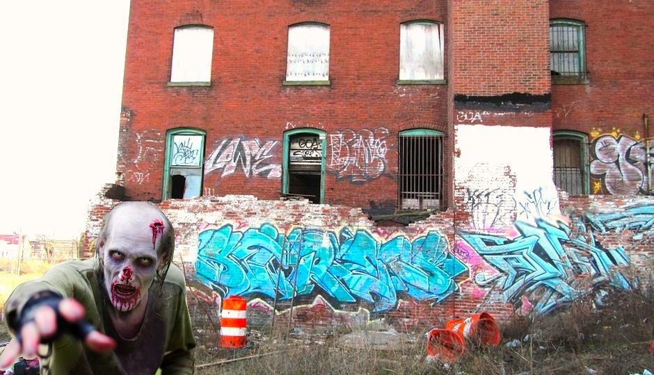 Photo credit (vacant building): pwbaker via Flickr. Photo credit (zombie): Nathan Rupert via Flickr.