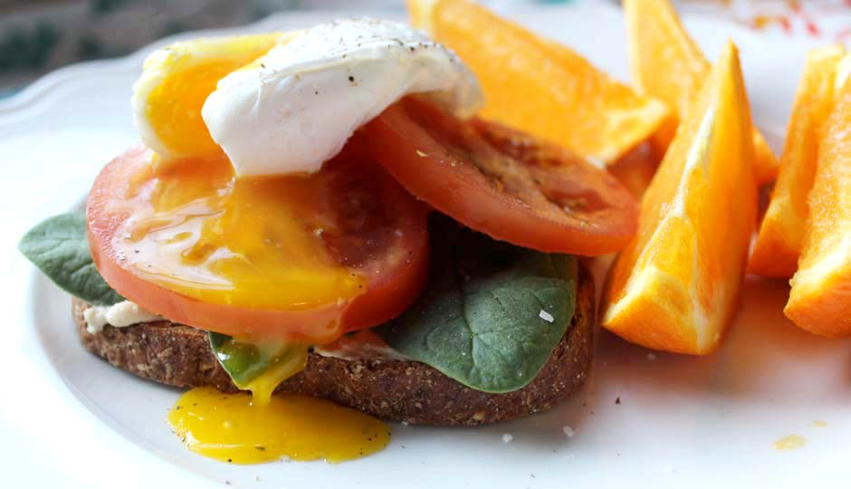 : Open-Faced Breakfast Sandwich with Hummus, Tomato and Poached Egg ...
