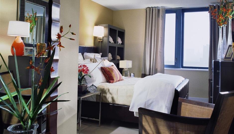 Bedroom inside Bella Condos in Atlantic City.