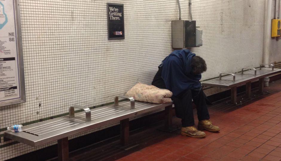 homeless man in septa station