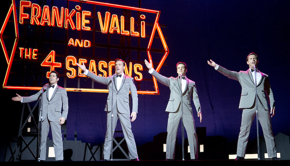 "(L-R) John Lloyd Young as Frankie Valli, Erich Bergen as Bob Gaudio, Vincent Piazza as Tommy DeVito and Michael Lomenda as Nick Massi in Clint Eastwood's ""Jersey Boys."" Photo by Keith Bernstein"