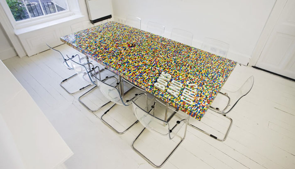 This office conference table was made out of 22,742 LEGO pieces by the Irish architecture and design company abgc.
