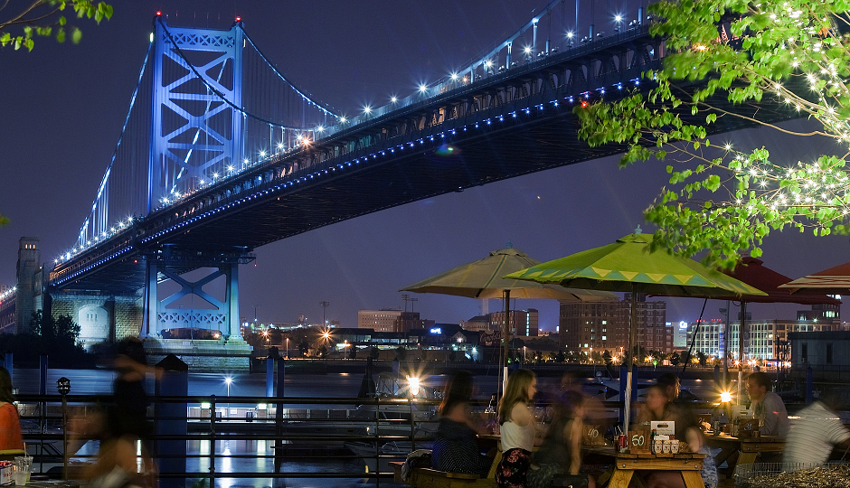 Beauty shots of the Ben Franklin Bridge from Morgan's Pier, with or without a clutched can of craft beer (usually Hell or High Watermelon) in the corner to taunt your friends who are still at work.