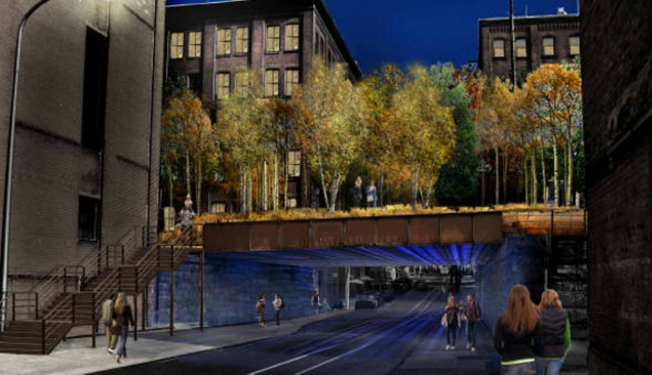 A 2012 preliminary design rendering of the Septa-owned portion of the Reading Viaduct are prepared by Studio Bryan Hanes and Urban Engineers. Photo credit:  Reading Viaduct Project.
