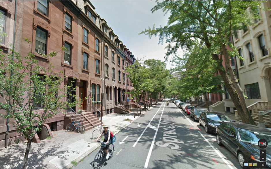 Google Street View of the lovely and desirable 2000 block of Spruce Street.