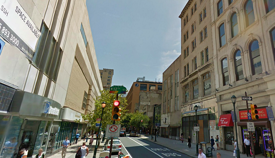Screenshot of Chestnut from 12th Street via Google Street View.