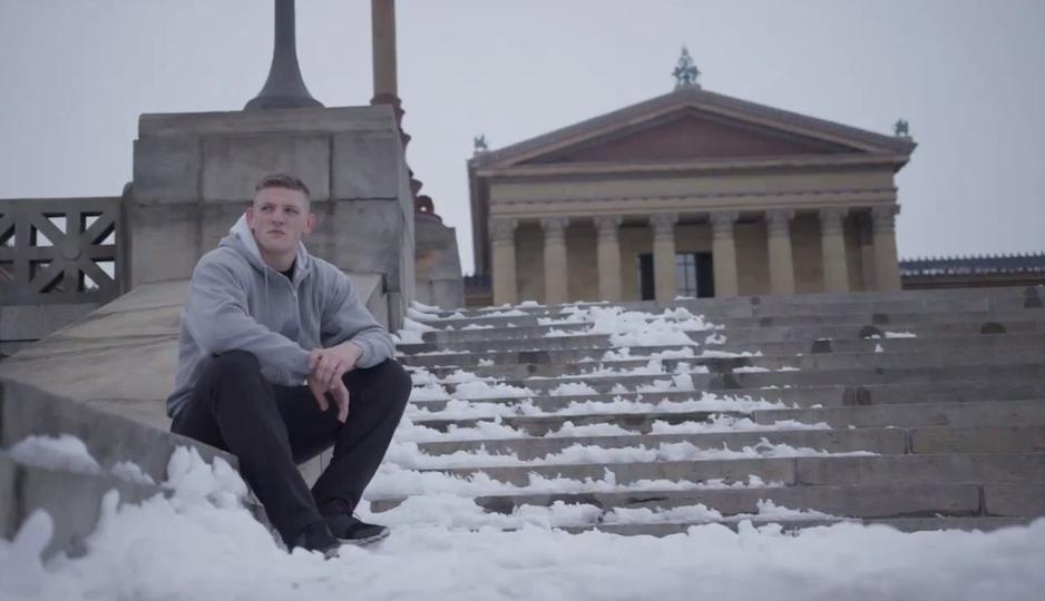 Berzin poses on the steps of the Philadelphia Art Museum