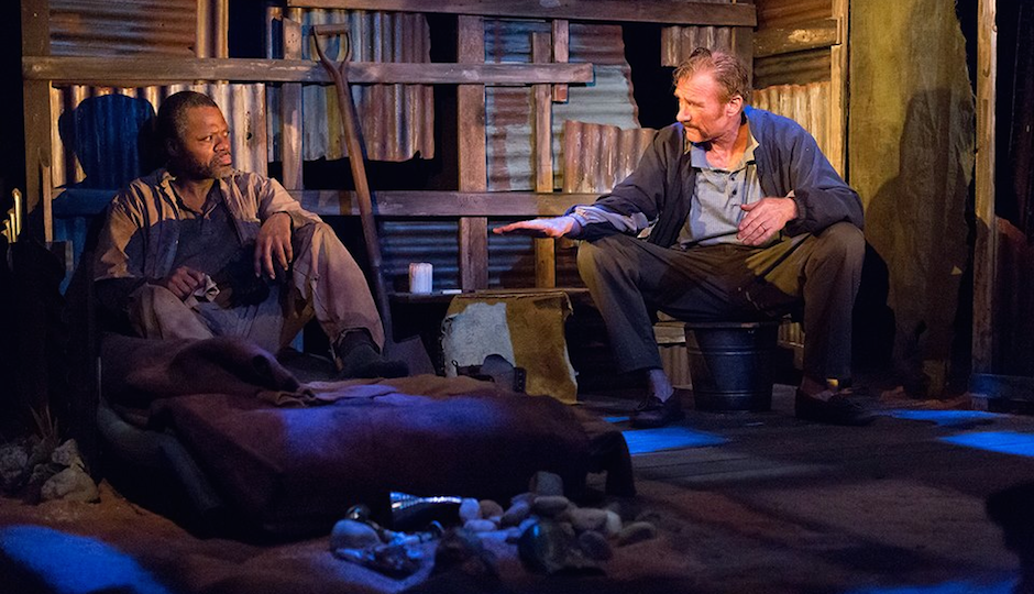 Kirk Wendell Brown and Peter DeLaurier in Lantern's current production, The Train Driver. Photo by Mark Garvin.