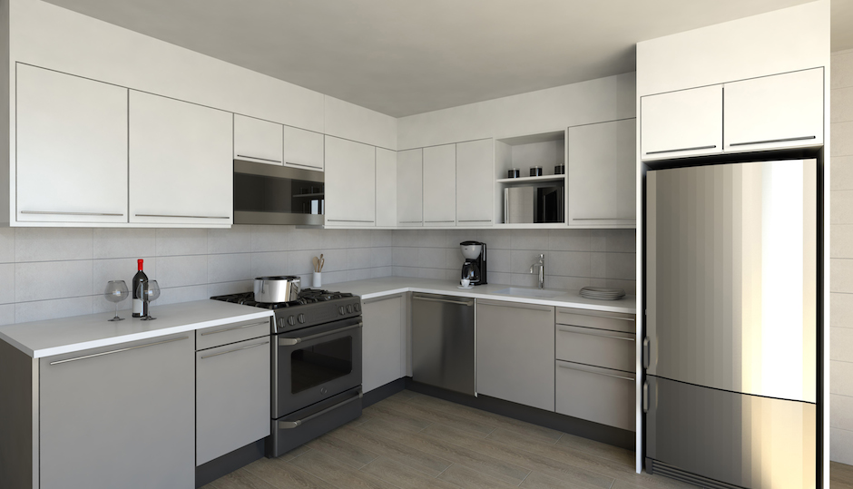 A rendering of a renovated kitchen in one of the units, courtesy of the developer