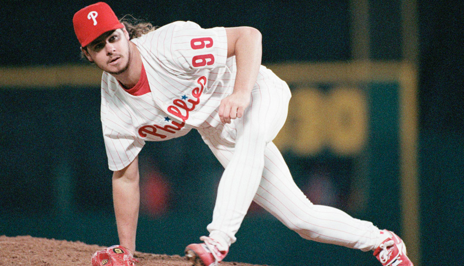 Philadelphia Phillies relief pitcher Mitch Williams follows through on a pitch in the ninth inning against the Atlanta Braves in game 1 off the National League Championship Series at Veterans Stadium, Oct. 06, 1993.Williams was the winning pitcher in the Phillies? 10th inning 4-3 win. (AP Photo/Amy Sancetta)