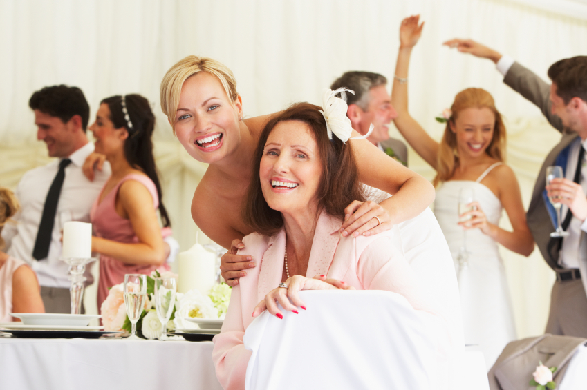 Bride With Grandmother At Wedding Reception