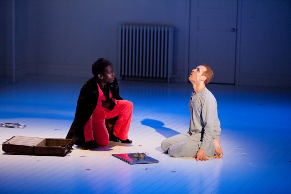 """James Ijames and Aubrey Deeker in the Wilma Theatre production of """"Angels in America."""""""