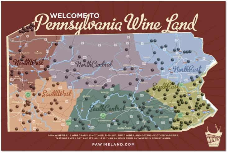 Getaway: Pennsylvania Wine Land - Philadelphia Magazine on gettysburg pennsylvania on us map, pennsylvania regions map, gettysburg manufacturing map, downtown gettysburg pa map, norhteast and southeast map, gettysburg trail map, winery map, gettysburg tourism map,