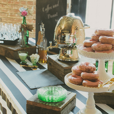 This donuts and coffee theme is perfect for a vintage-inspired shower