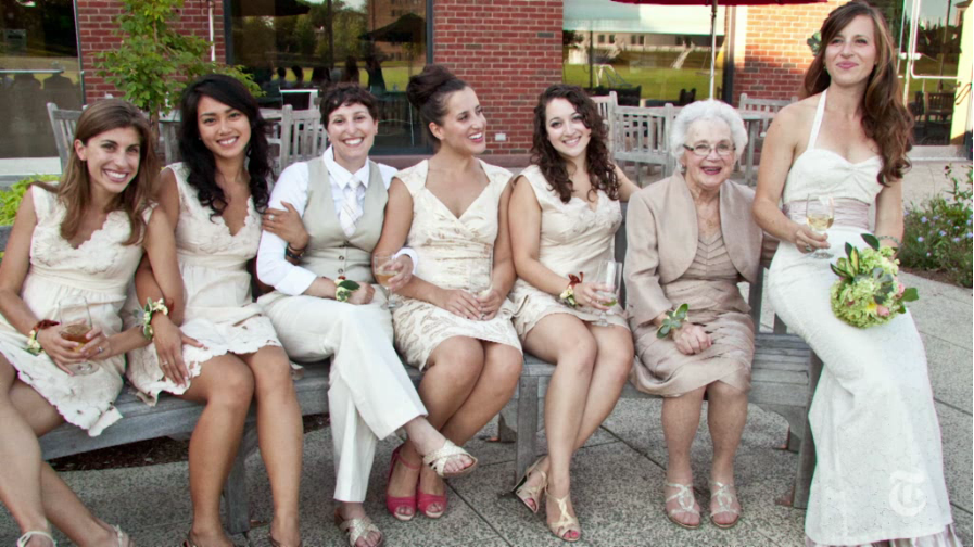 Grandmother bridesmaids are our new favorite thing. Video screen grab from nytimes.com.
