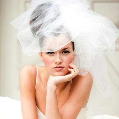 We love this elegant, poofy veil.