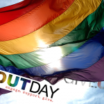 Give OUT Day Rainbow Flag