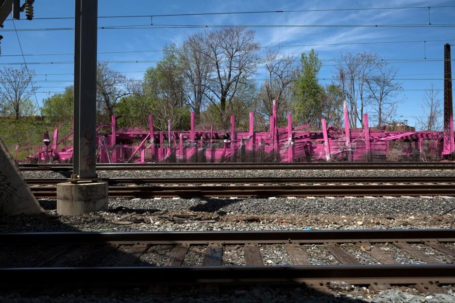 Artist begins installation along amtrak northeast corridor for City of philadelphia mural arts program