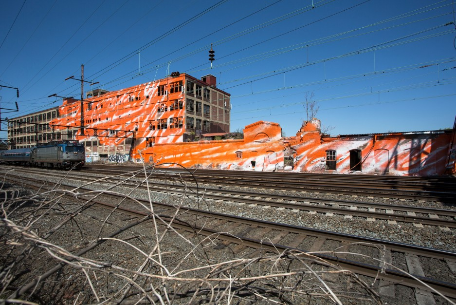 Artist begins installation along amtrak northeast corridor for City of philadelphia mural arts program